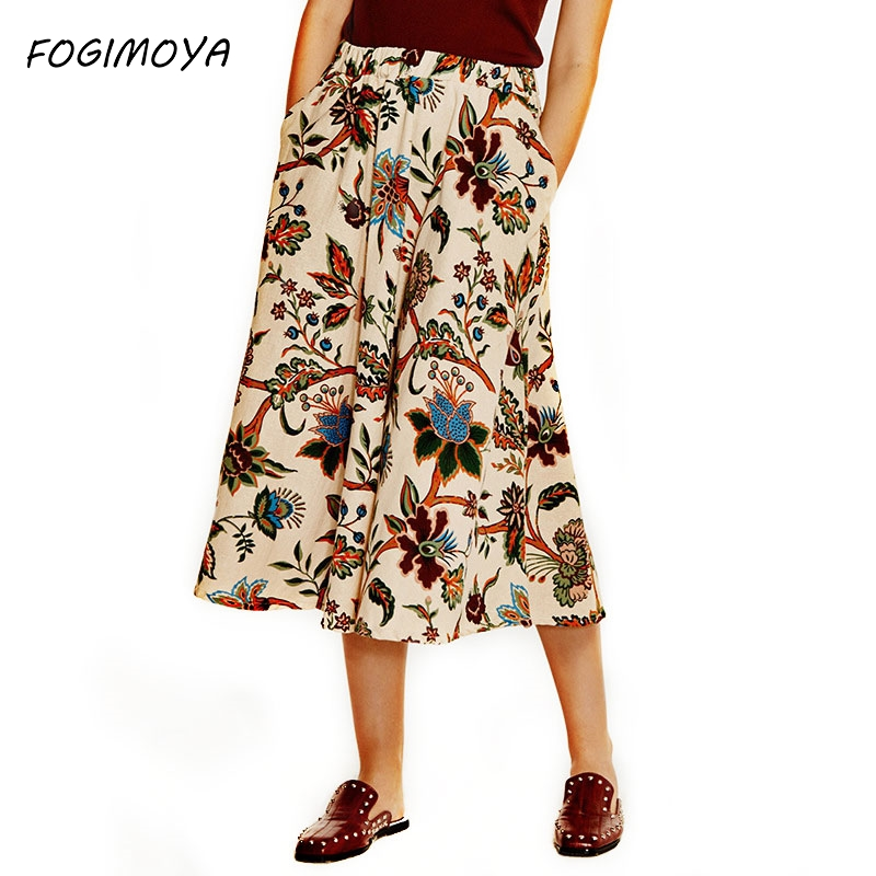 Fogimoya Cotton Linen Print Skirt Women Spring Summer Print Long A Line Skirts Women's Wild Big Skirt Simple Multicolor Skirts