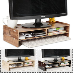 Wooden Monitor Laptop Stand Holder Riser Computer Desk Organizer Keyboard Mouse Storage Slots for Office Supplies School Teacher