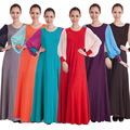 Шелк молока Длинное Платье Мусульманских Женщин Шифон Одежда Турецких Женщин Одежда Дубай Абая Кафтан Abayas Jilbabs Мусульманского Платья