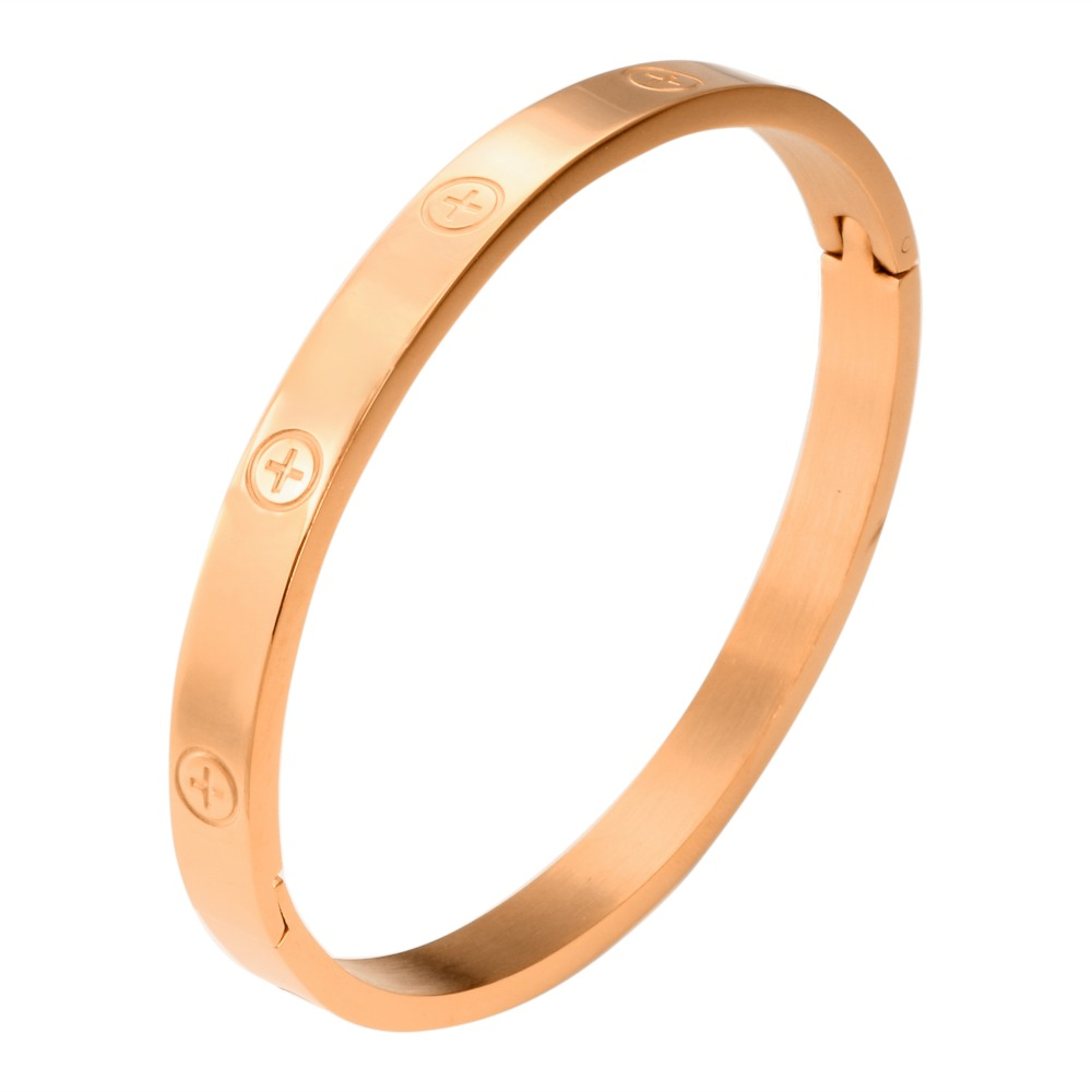 Trendy Stainless Steel Luxury Brand Bangle Bracelet Woman Man Rose Gold Color Wristband Bangles Gift Bracelets Femme