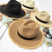 2017 New Women Natural Wide Brim Burr Raffia Straw Hats Fringe Women Plain Large Beach Summer