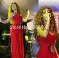 Arabic Singer Myriam Fares Red Carpet Dresses 2017 Sheath One-shoulder Red Chiffon Beaded Famous Imitation Celebrity Dresses