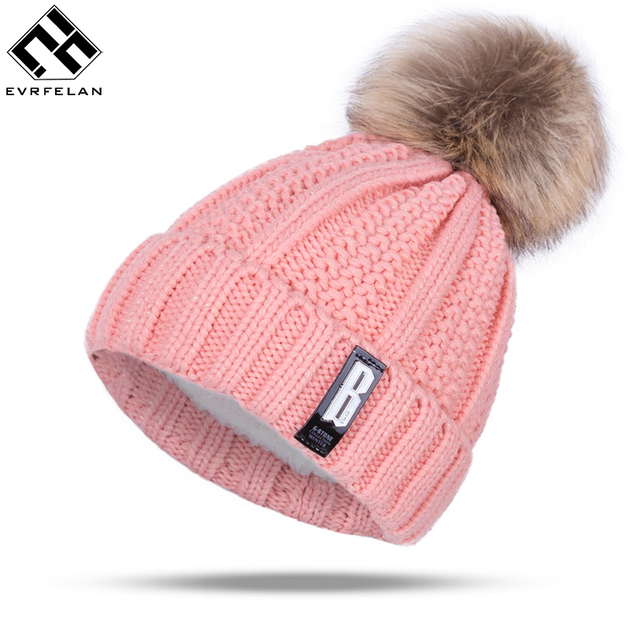 77108d445f8 Fashion Girl  S Skullies Beanies Winter Hats For Women Knitting Cap Hat  Pompoms Ball Warm