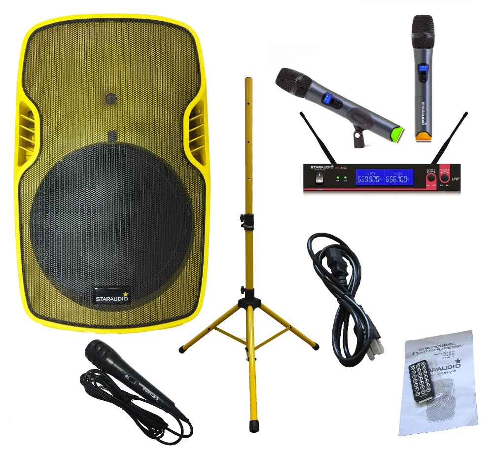 STARAUDIO SSYM-15 15 3500W Powered Active PA DJ Stage USB SD FM BT Speaker with Stand 2CH UHF Mic System 1 Wired Microphone