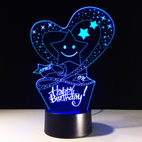 HAPPY BIRTHDAY 3D LED Night Light USB Table Lampara Mood Lamp Atmosphere 7 Color Visual Light
