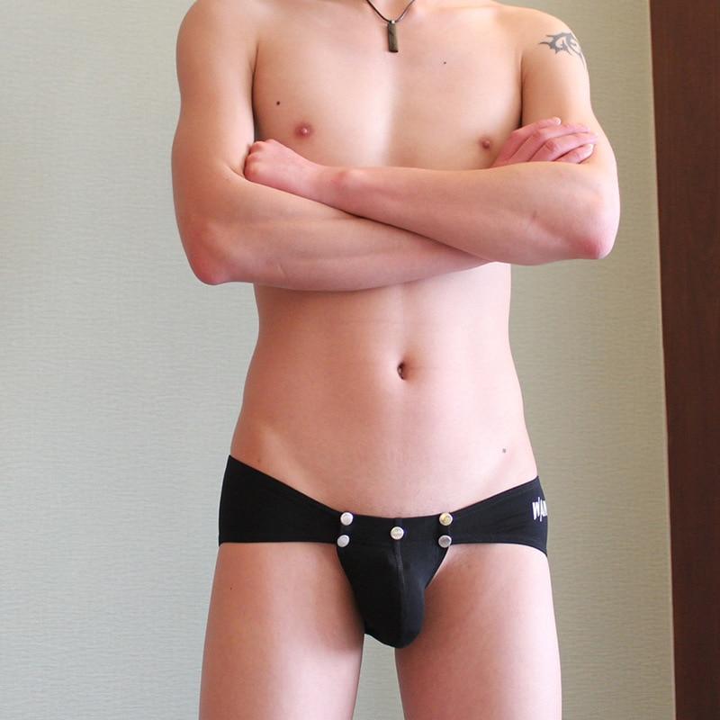 Sexy Gay Underwear Button Open Penis Sheath Men Briefs U Convex Pouch Breathable Men Shorts Pants Homme Cueca Underpant Male Gay