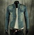 Мужчины Джинсовая Куртка Slim Fit Жан Байкер Бомбардировщик Кнопку Исчезать Мыть Старинные Синий Новый
