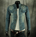 Men Denim Jacket Slim Fit Jean Biker Bomber Button Fade Washed Vintage Blue New