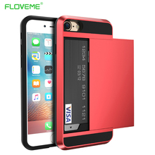 FLOVEME Card Slot Armor Case For iPhone 7 6 6s 8 Plus X XS Max XR Clip Slider 2 in 1 Phone Cases 5s SE 5 10 Cover