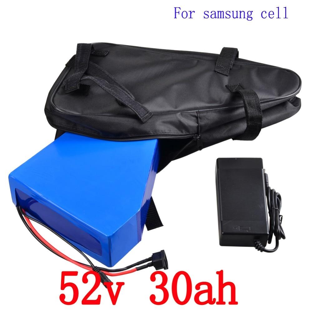 52 В треугольная батарея 52 В 30AH Электрический велосипед Батарея 52 В 2000 Вт ues samsung литиевая Батарея пакет с 50A BMS + 58,8 В зарядное устройство