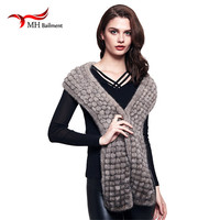 Genuine Knitted Mink Fur Scarves New Women Fashion Scarf Female Winter Warm Real Fur Scarves High