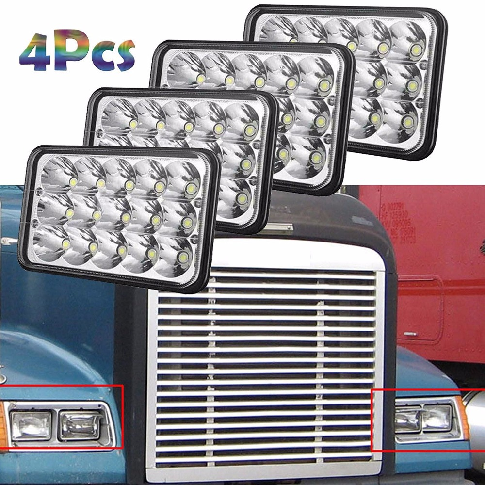 4pcs 4x6 Sealed Beam LED Headlights 6000K Waterproof For FREIGHTLINER FLD 120 112 70 Classic