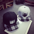 men plaid solid hip-hop cap male leisure baseball cap women brim straight snapback female leisure chapeau unisex bone