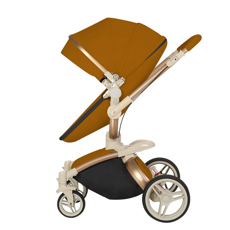 Baby Stroller Brand Baby PU Leather Pram Bassinet Newborn High Landscape Folding Portable Baby Carriage orbit baby люлька колыбель orbit baby g3 bassinet