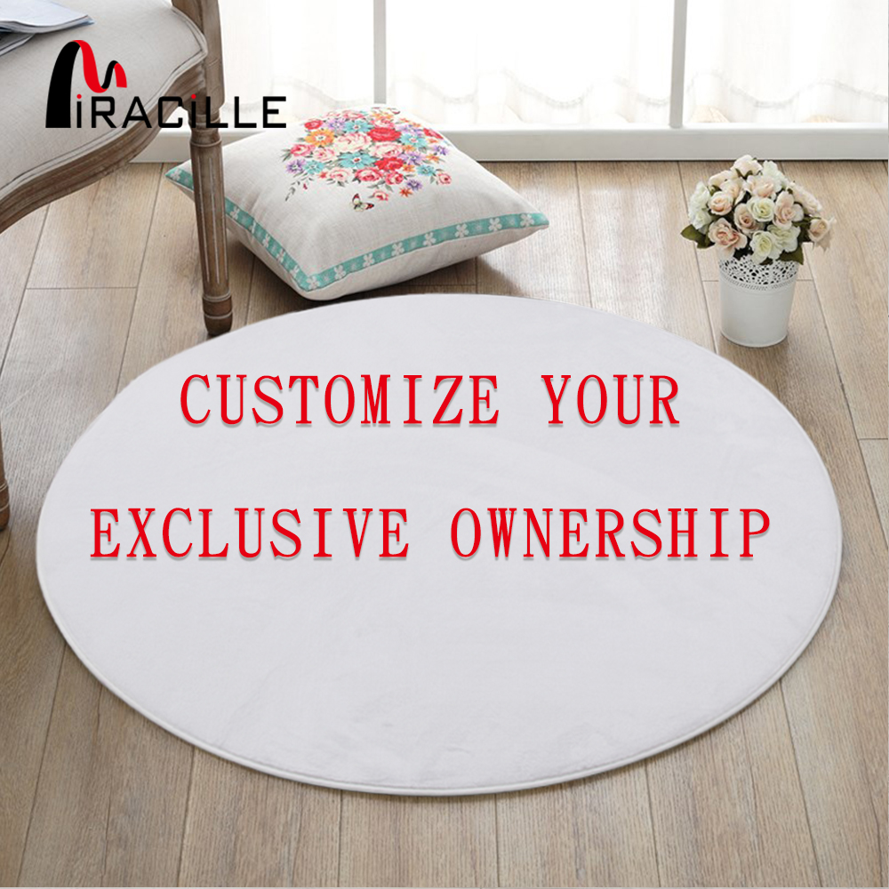 Miracille Modern Custom Design Printed Coral Velvet Round Floor Mats For Living Room Bathroom And Bedroom Anti Slip Area Rugs