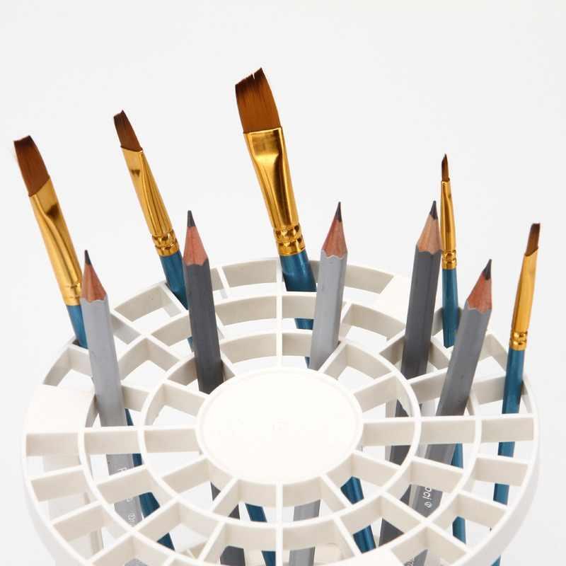 פלסטיק מברשת צבע בעל 49 חורים עט מתלה עגול בצבעי מים ציור מברשת עט מחזיק תצוגת Stand עבור ציור אספקת אמנות
