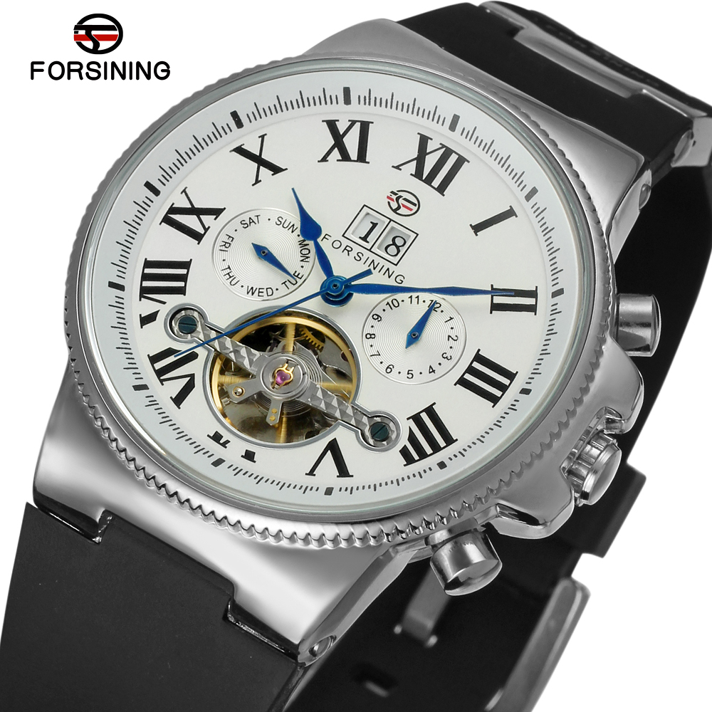 FORSINING Men Luxury Roman Number Rubber Strap Sports Tourbillon Automatic Mechanical Wristwatches Gift Box Relogio Releges 2016 forsining men luxury brand moon phase genuine leather strap watch automatic mechanical wristwatch gift box relogio releges 2016