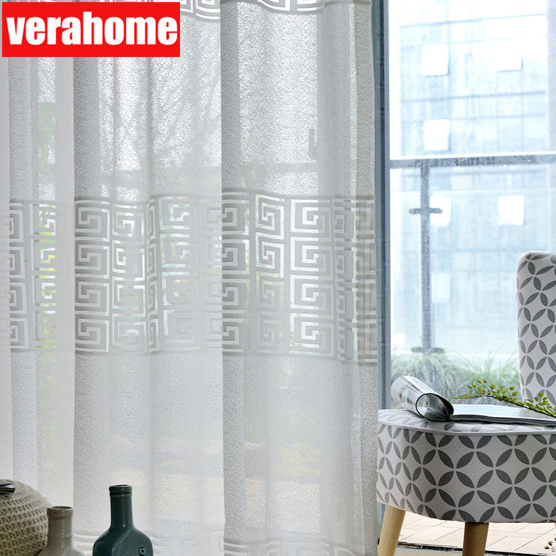 Modern White Tulle Curtains For Living Room Bedroom Geometric Sheers Curtain Drapes For Windows