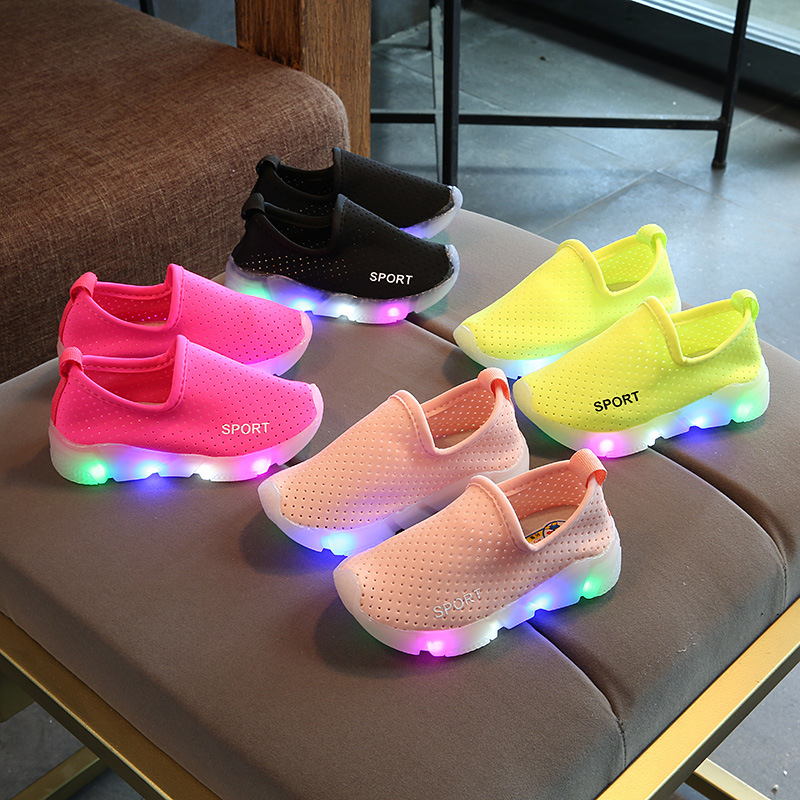LED lighted casual toddler first walkers Hook Loop breathable light kids sneakers high quality hot sales boys girls shoes