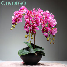 Purple Spot Orchid Flower Arrangment (4 pcs orchid +3pcs Leaf ) Real Touch Table Decoration Event Free Shipping