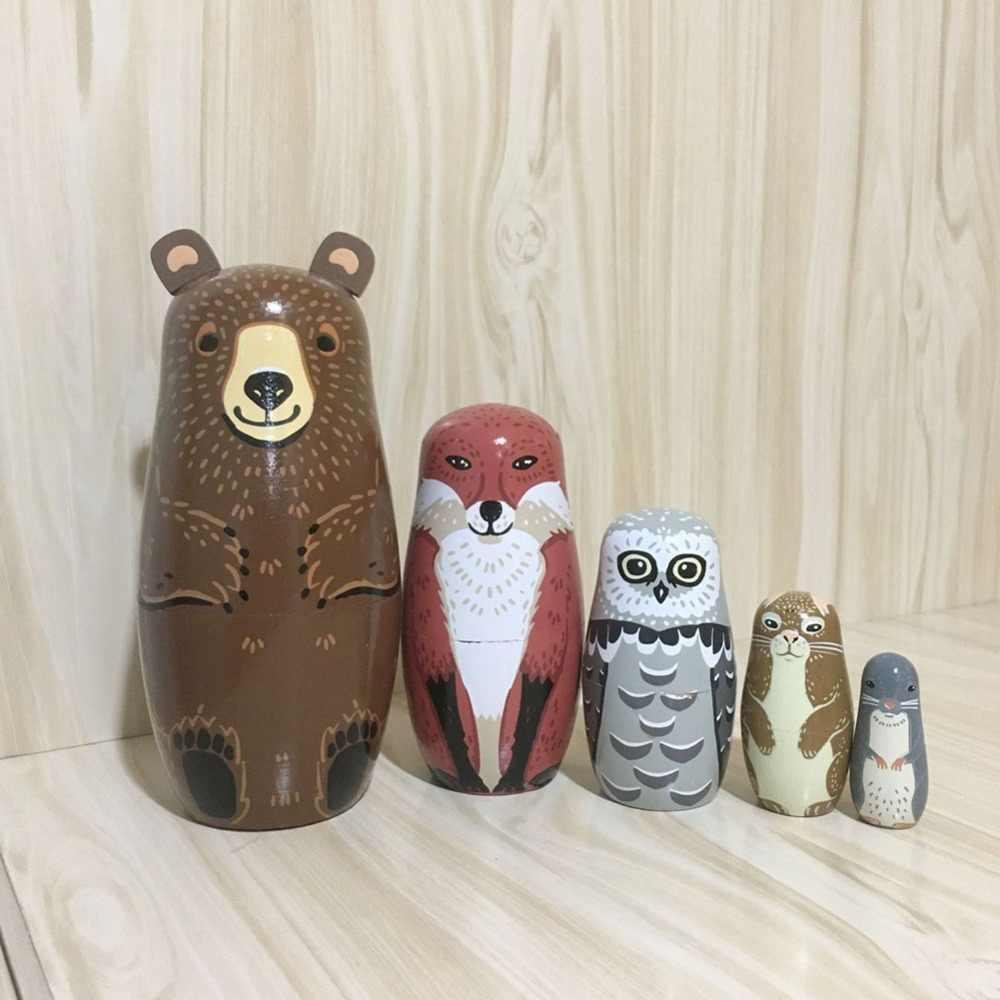 Cute Cartoon Animals Pattern Aminal Nesting Dolls Handmade Wooden Matryoshka Bear Dolls for Kids red Russian Nesting Doll Toy Childrens Day Gift