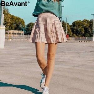 Image 4 - BeAvant plissé tricoté hiver jupes femmes une ligne à volants taille haute mini jupe femme 2019 automne rose jupes courtes dames