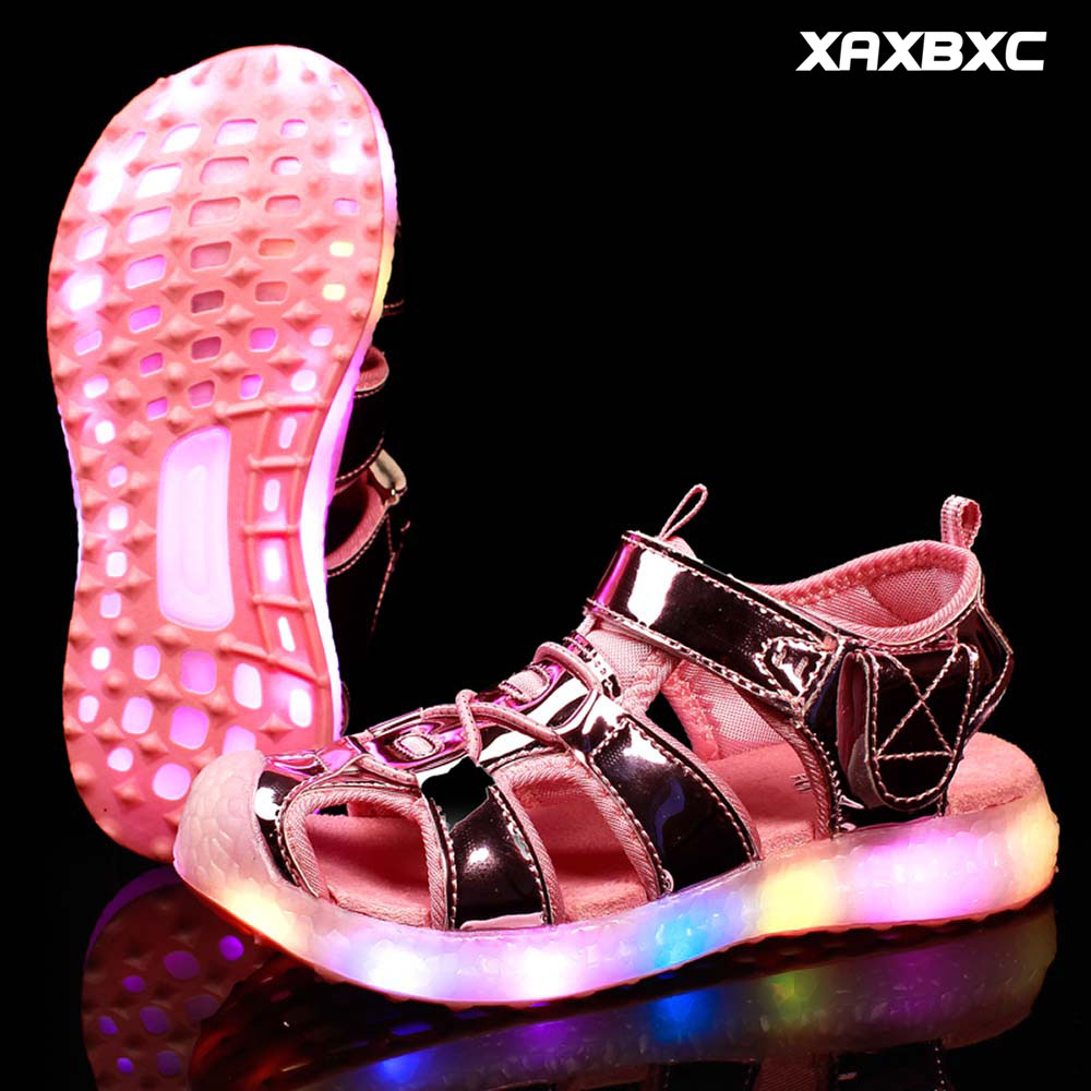 2018 New Summer Fashion Kids Lighted Sandals Boys Girls LED Glowing Shoes Caterpillar Children Leisure Shoes Child Beach Shoes joyyou brand summer beach slippers kids shoes boys girls school sandals children teenage footwear baby for child fashion shoes