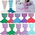 2 size Mermaid Tail Blanket Handmade Wool Knit Blanket Fish Tail Sleeping Blanket Travel Blanket For Children Kids sleeping bag