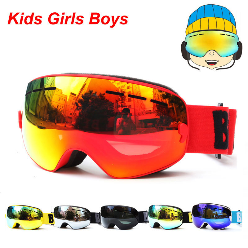 UV400 ป้องกันหมอกสโนว์บอร์ดแว่นตาเด็กคู่เลนส์สกีหิมะแว่นตาเด็กเล่นสกีหน้ากากฤดูหนาวสาวเด็กแว่นตา Gafas 4-15