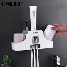 ONEUP настенная подставка для зубных щеток, смонтированная зубная паста, соковыжималка для рта, аксессуары для ванной комнаты, наборы, Подставка для хранения с чашкой