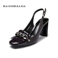 Genuine Leather Sandals Summer 2017 Back Strap Party Fashion Shoes Woman High Heels 35 40 Free