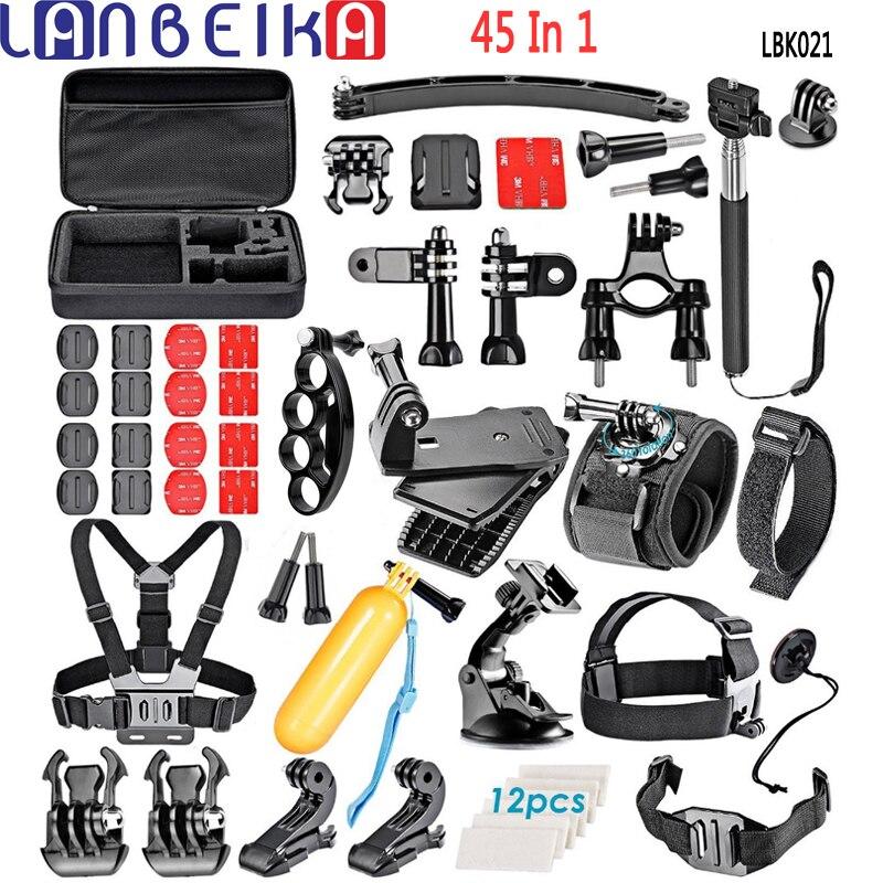 LANBEIKA accessoires boîte de transport poignée de doigt support monopode trépied sangle de poitrine pour Gopro Hero 7 6 5 4 3 + SJCAM SJ4000 SJ8 SJ6