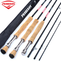PROBEROS 4 Sections Hard Fishing Pole Rod Line 9ft Carbon Fiber Fly Fishing Rod 2.7M Telescoping Wt 3/4 5/6 7/8 Fish Tackle