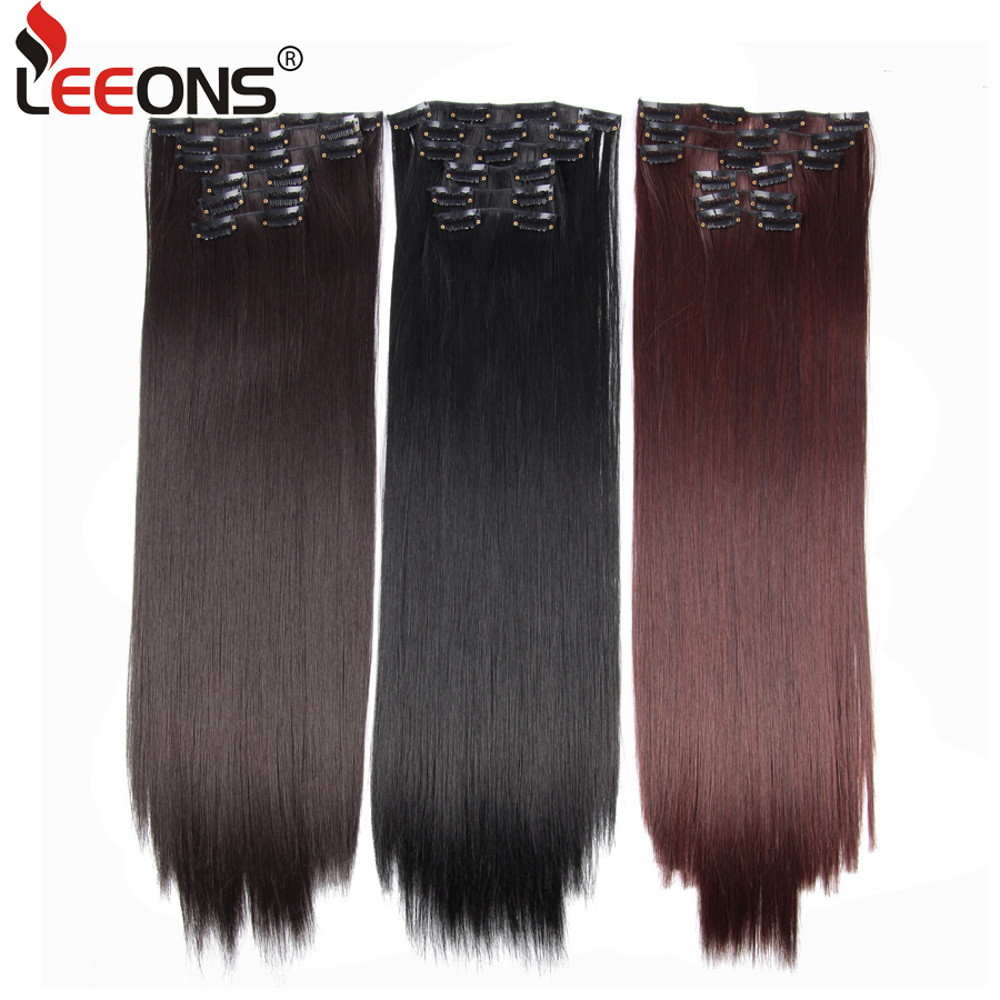 Leeons Synthetic Hair On Hairpins 16 Clip Straight Hair Extension Clip For Women 6Pcs/Set Hair Extension Clip Brown/Black/Red