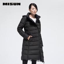 Высокое качество misun краткое моды большая конструкция тепловой долго тонкий пуховик женский утолщение