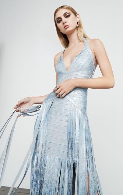Hohe Qualität Lange Kleid Silber Gold Drucken Rayon Verbandkleid ...