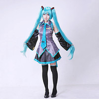 2017 New Vocaloid Miku Hatsune Cosplay Costume Kit Japanese Mid Dress 10 Pcs Set Hatsune Miku