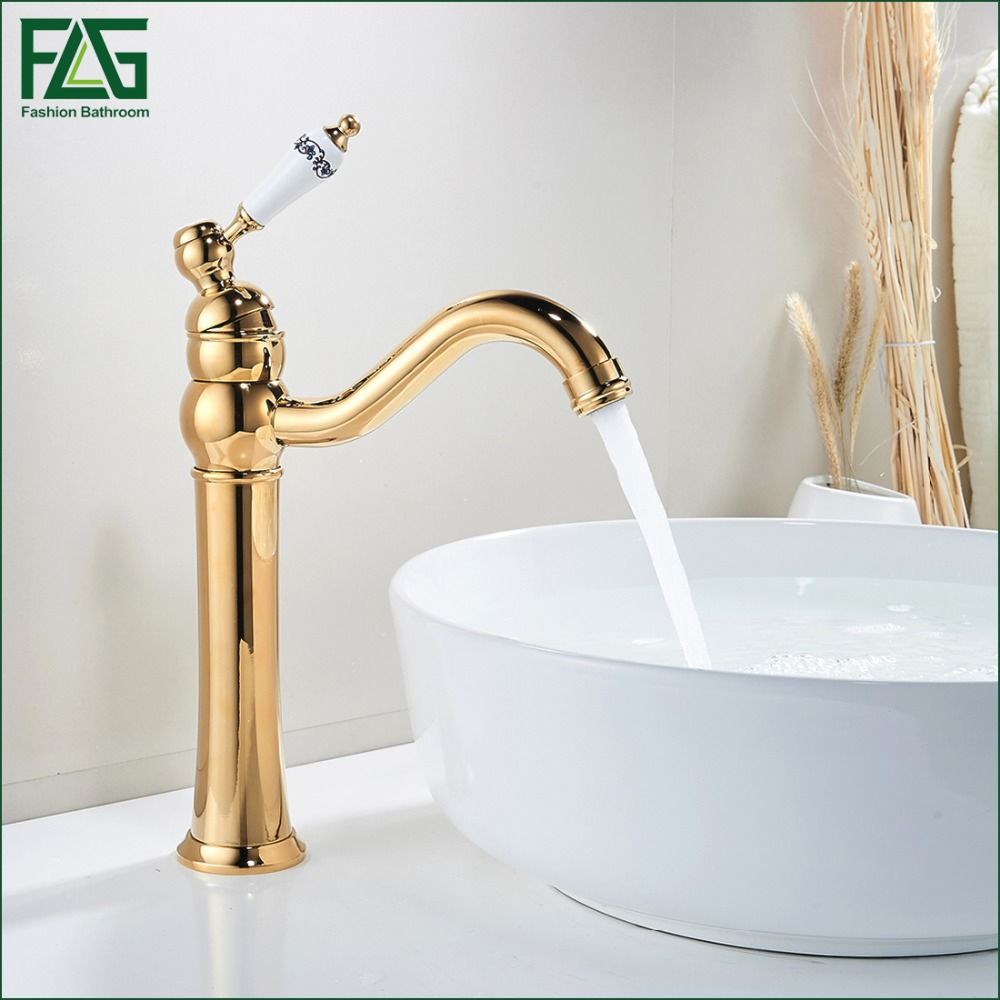 ᗖFLG English Style Basin Faucet Gold Color 360 Degree Swivel Cold ...