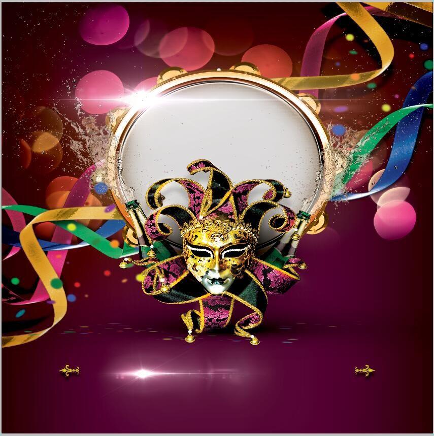 10x10ft Mardi Gras Masquerade Mask Party Ribbons Balloons