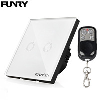 FUNRY Touch Switch 2 Gang 1 Way ST1 EU 2R Wireless Remote Control Switch EU Single