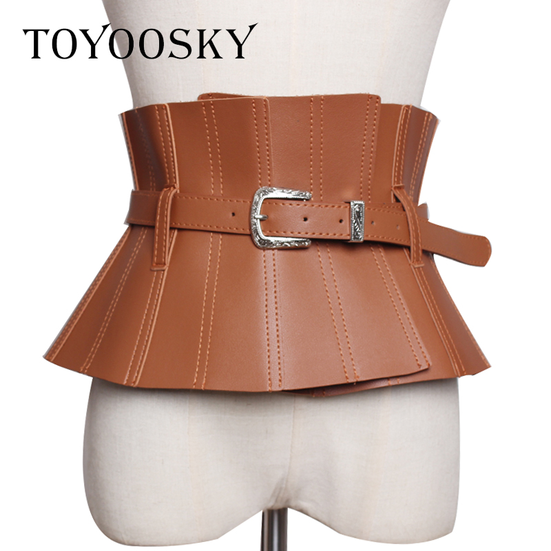 2019 Designers luxe réglable femmes ceinture Super large à volants Skinny bracelet en polyuréthane pour les femmes robe chemise kemer cinto feminino TOYOOSKY