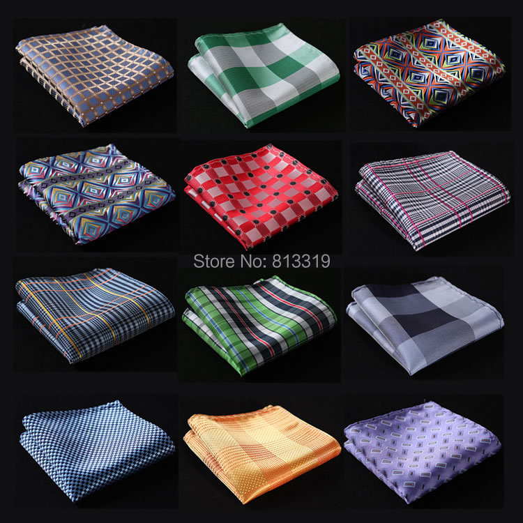CE Check Floral Men Silk Satin Pocket Square Hanky Jacquard Woven Classic Wedding Party Handkerchief