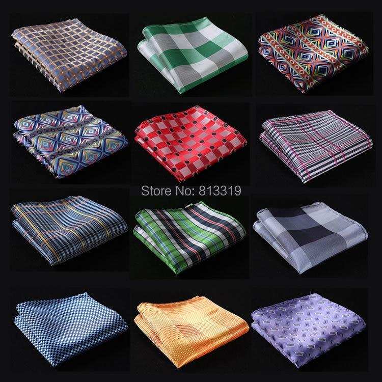 CE Check Floral Men Silk Satin Pocket Square Hanky Jacquard Woven Classic Wedding Party Handkerchief