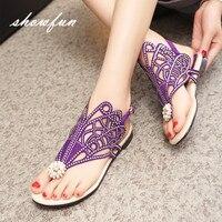 Women S Genuine Suede Leather T Strap Flip Flop Flats Sandals Brand Designer Summer Rhinestones Sandalias