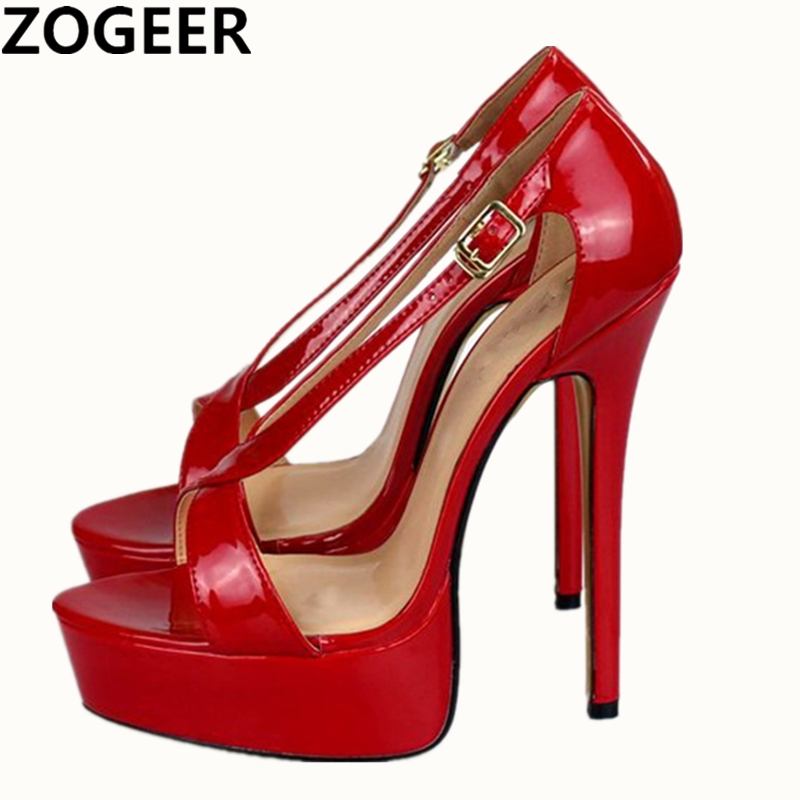 Plus Size 48 2019 Summer Sandals Women Sexy Extreme High Heel 16cm Platform Sandal Red Black