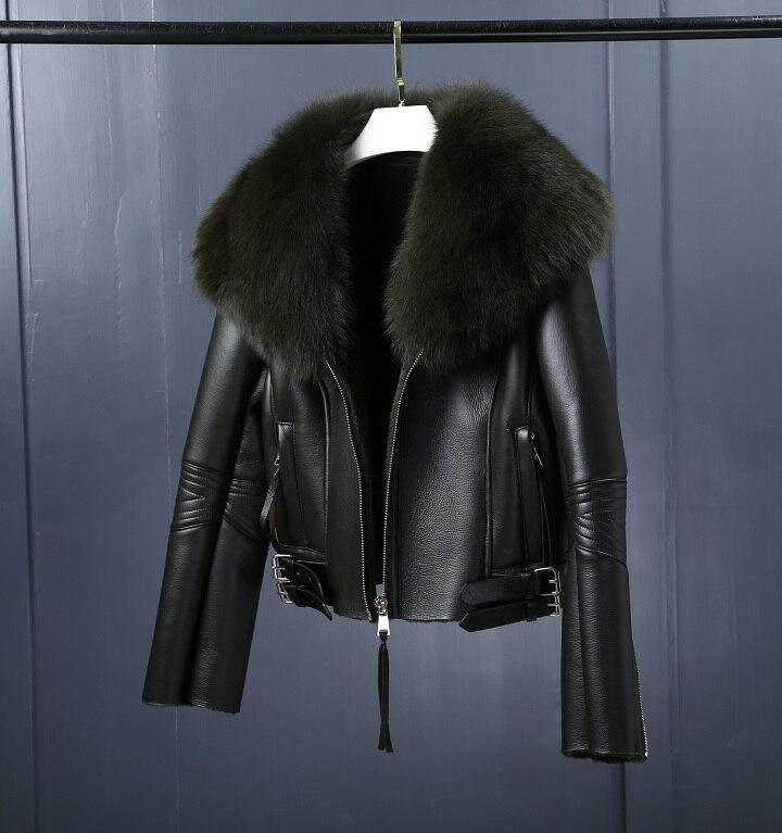 Image 3 - Oftbuy 2020 casaco de pele real casaco de inverno feminino natural gola de pele de raposa forro de lã real pu couro falso grosso quente streetwearPele verdadeira   -
