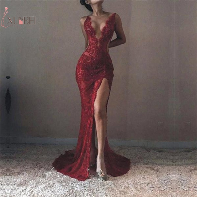 Burgundy Elegant Mermaid High Split V Neck Lace Long   Prom     Dresses   Customize Real Photo   Prom   Gown Vestido de festa longo New