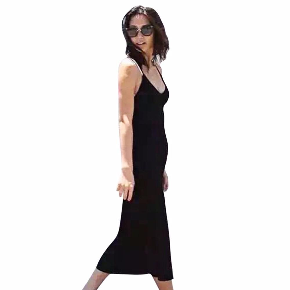 VESTLINDA Knitted Dress Side Split Midi Bodycon Dress Women Summer Brandy Melville Spaghetti Strap Sexy Deep V Neck Beach Dress 22