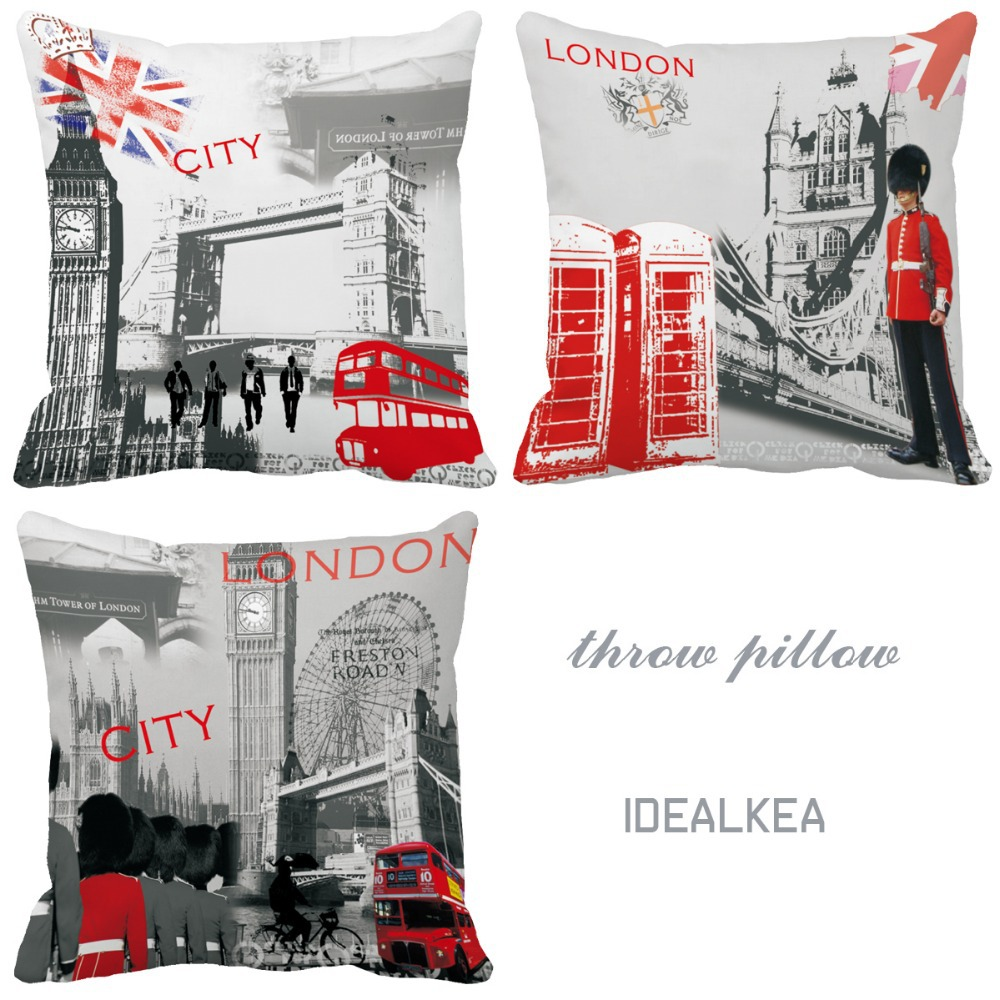 London Impression City Style Bus Telephone Booth Print Custom Vintage Accent Cushions Home Decor Cojin Decorative Throw Pillows