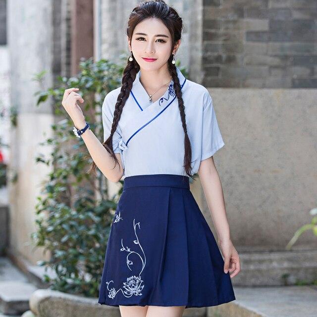 wanita elegan wanita pakaian bau baju hanfu dress untuk musim panas nasional cina kuno tradisional kostum tarian rakyat